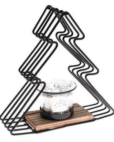 Čierny kovový svietnik v tvare stromu, výška 18 cm