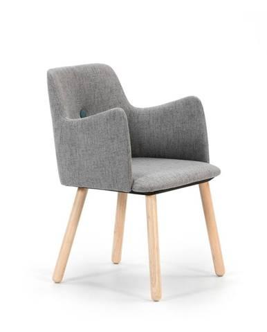 Sivá jedálenská stolička s nohami z dreva kaučukovníka Marckeric Aruba