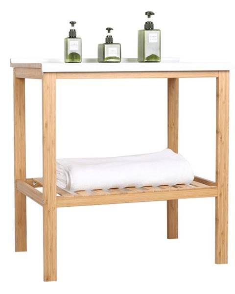 Tempo Kondela Stôl s policou prírodná/biela SELENE TYP 5