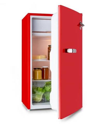 Klarstein Beercracker 90L, chladnička, energetická trieda A+, mraziaci box, otvárač na fľaše, červená