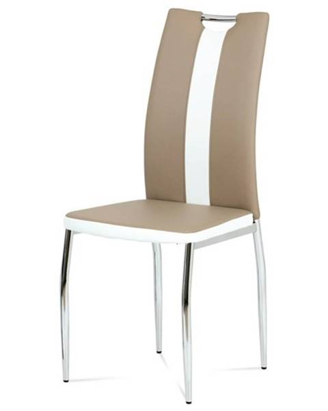 Sconto Jedálenská stolička BARBORA hnedobiela/chróm