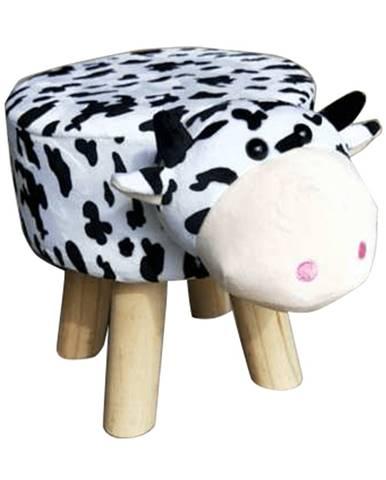 Taburet v tvare kravičky látka Velvet biela/čierna/prírodná MOLLY