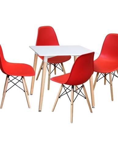 Jedálenský stôl 80x80 UNO biely + 4 stoličky UNO červené