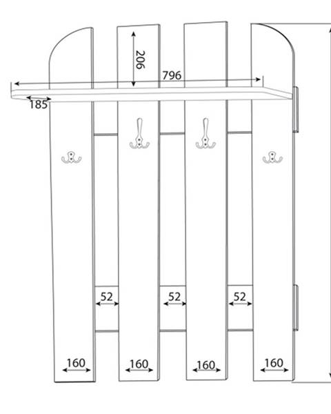 MLnábytok MLnábytok Vešiakový panel w 80-01