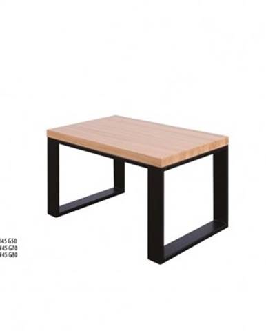 Drewmax Konferenčný stolík Metal ST374 / dub / doska 4 cm