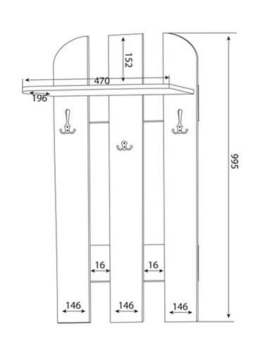 MLnábytok Vešiakový panel W 50-01