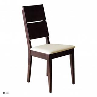 Drewmax Jedálenská stolička - masív KT173 | buk / koža