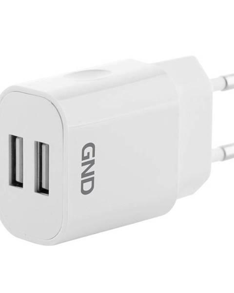 GND Nabíjačka do siete GND 2x USB, 2A biela