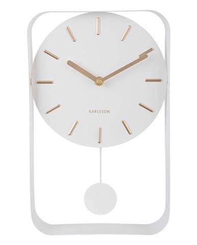 Biele nástenné hodiny s kyvadlom Karlsson Charm, výška 32,5 cm