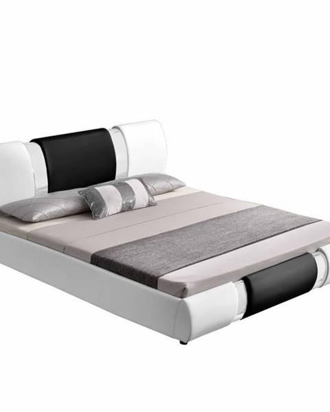 Tempo Kondela Moderná posteľ biela/čierna 180x200 LUXOR