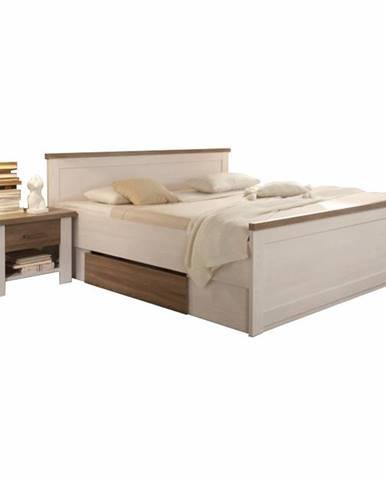Posteľ + 2x nočný stolík pínia biela/dub sonoma truflový LUMERA