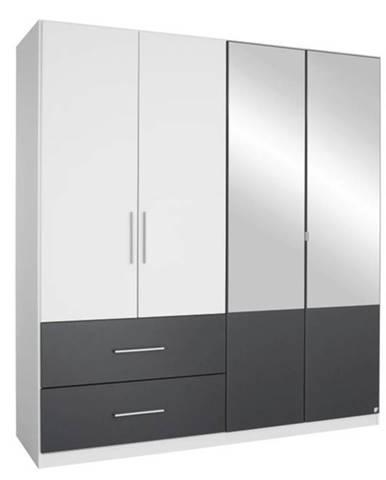 Šatníková skriňa AUBREE alpská biela/sivá, 4-dverová s 2 zrkadlami