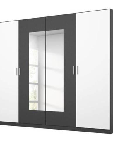 Šatníková skriňa BROOKE alpská biela/sivá, šírka 226 cm