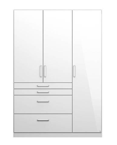 Šatníková skriňa HAYDEN biela vysoký lesk, 3-dverová
