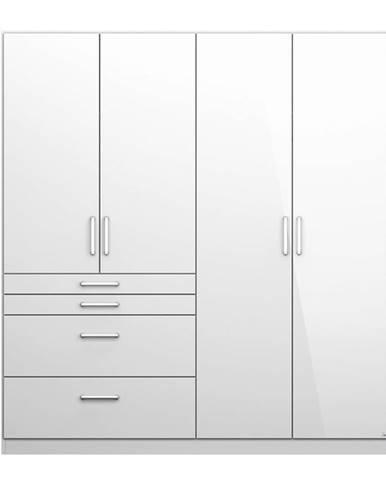 Šatníková skriňa HAYDEN biela vysoký lesk, 4-dverová
