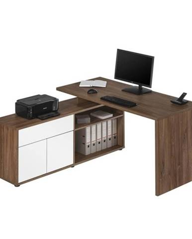 Rohový písací stôl ARLO dub tmavý/biela
