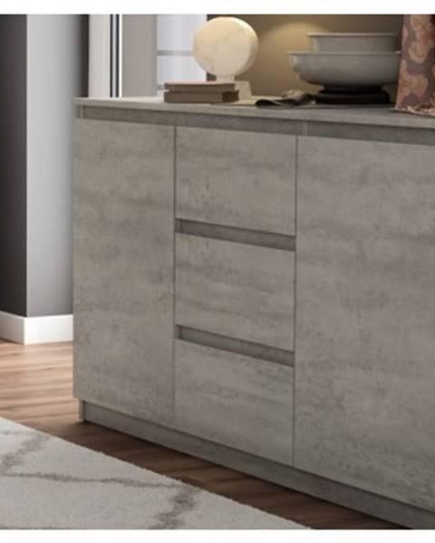 ASKO - NÁBYTOK Komoda s 3 zásuvkami Carlos, šedý beton, 120 cm%