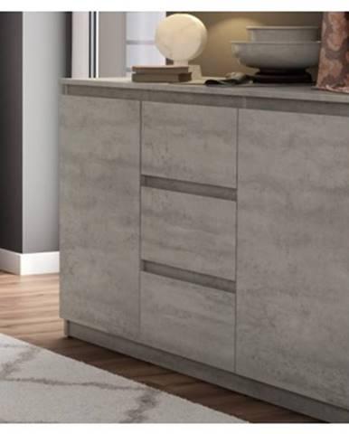 Komoda s 3 zásuvkami Carlos, šedý beton, 120 cm%