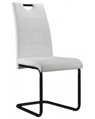 Jedálenská stolička Queens, biela ekokoža%