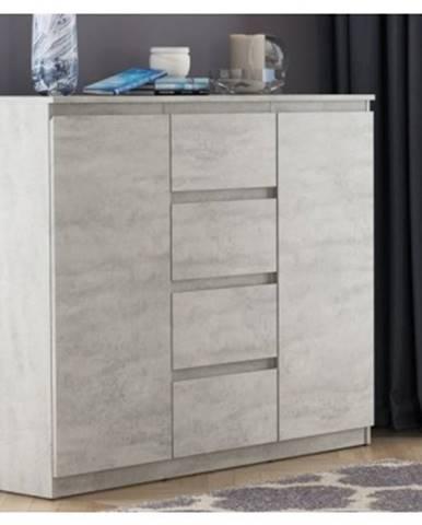 Široká komoda so 4 zásuvkami Carlos, šedý betón, 120 cm%