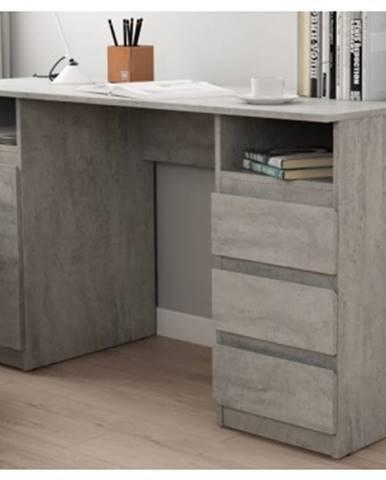 Písací stôl so 3 zásuvkami Carlos, šedý beton%
