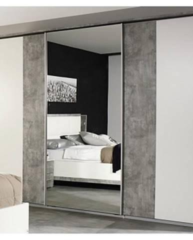 Šatníková skriňa Siegen, 271 cm, biely/sivý betón%