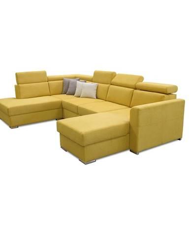 Luxusná sedacia súprava žltá/hnedé vankúšiky ľavá MARIETA U