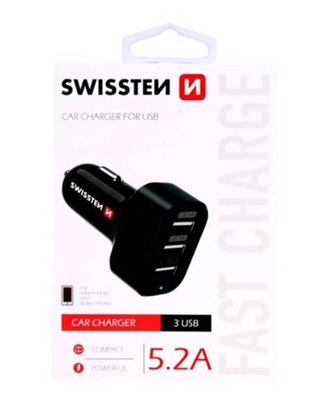 Swissten Autonabíjačka Swissten 3xUSB 5,2A, čierna