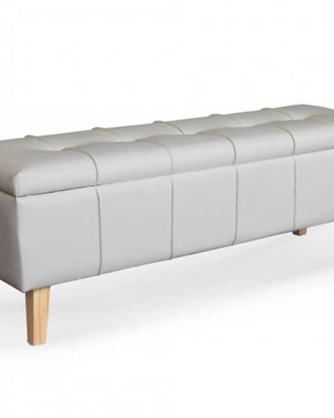 OKAY nábytok Kožená taburetka Arlon obdĺžnik biela ÚP