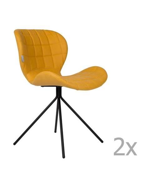 Zuiver Sada 2 žltých stoličiek Zuiver OMG LL