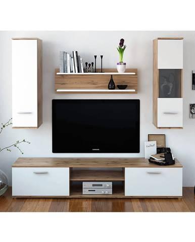 Obývacia stena dub wotan/biela WAW NEW