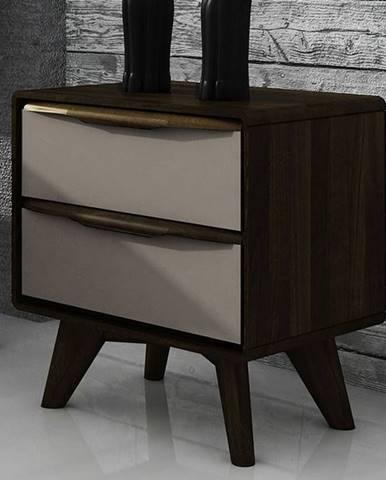 SKANE Nočný stolík 30x47 cm, dub, tmavohnedá