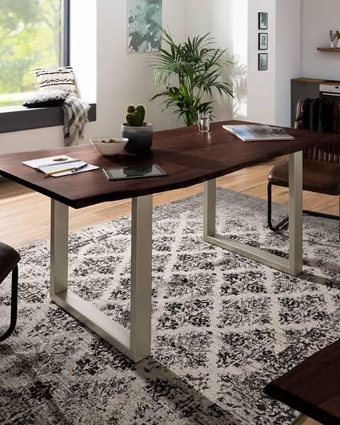 Bighome.sk METALL Jedálenský stôl so striebornými nohami 140x90, akácia, hnedá