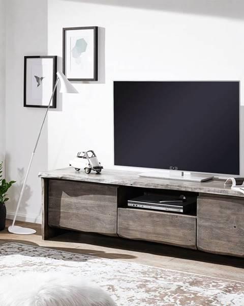 Bighome.sk WOODLAND TV stolík II. 191x50 cm, sivá, akácia