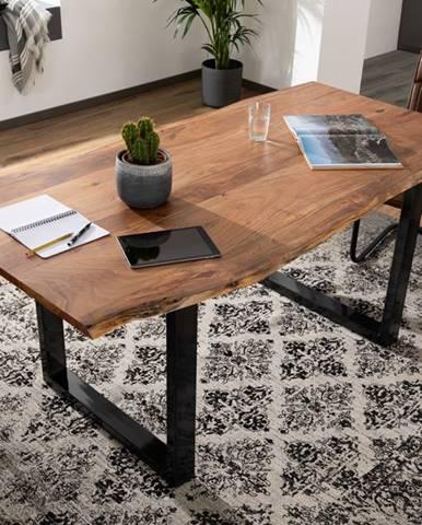 METALL Jedálenský stôl s antracitovými nohami (lesklé) 200x100, akácia, prírodná