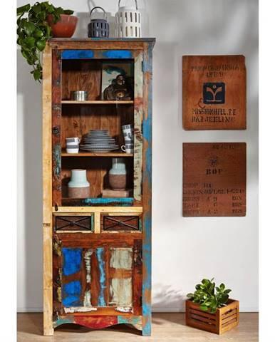 OLDTIME Vitrína 200x73 cm, staré drevo