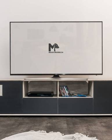 TAMPERE TV stolík 50x210 cm, dub, svetlosivá