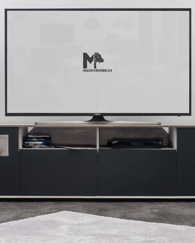 TAMPERE TV stolík 58x180 cm, dub, svetlosivá