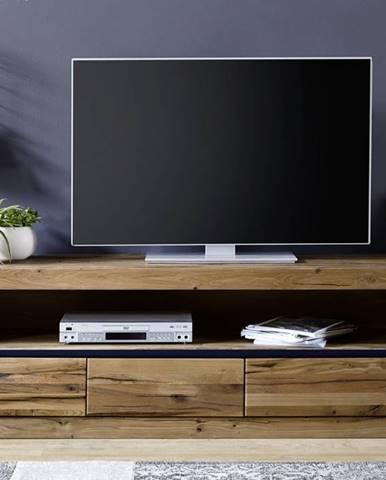 VEVEY TV stolík 165x55 cm, tmavohnedá, dub