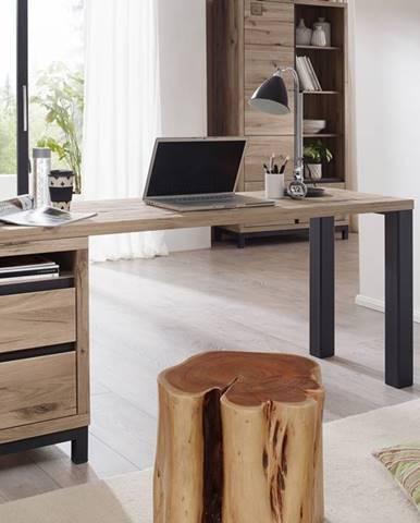 TIROL Písací stôl s poličkou 150x55 cm, svetlohnedá, dub
