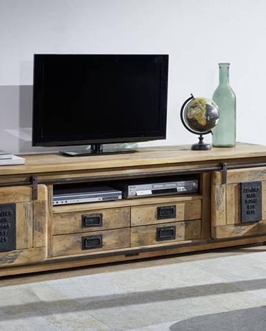 IRON TV stolík 200x55 cm, mango, prírodná