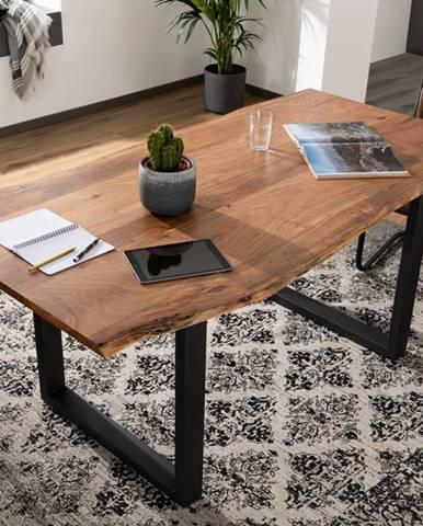 METALL Jedálenský stôl s antracitovými nohami (matné) 120x90, akácia, prírodná