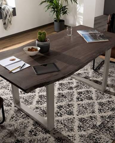 METALL Jedálenský stôl so striebornými nohami 120x90, akácia, sivá