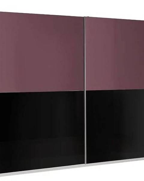 MERKURY MARKET Skriňa Lux 11 244 cm fialová  lesklá/čierna lesklá