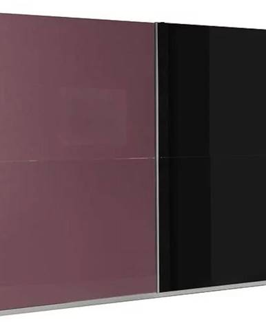 Skriňa Lux 8 244 cm fialová  lesklá/čierna