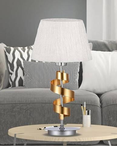 Stolná lampa Denis 1x60w E27 Chróm/Zlatá + tienidlo