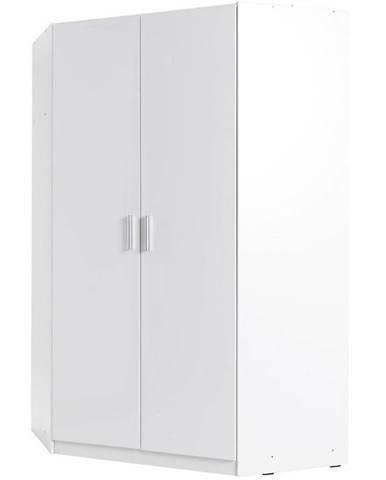 Rohová skriňa 117 cm biela lesklá/biela alpská Snow 06