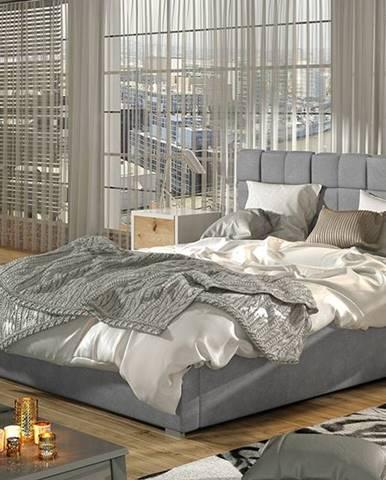 Galimo 180 čalúnená manželská posteľ s roštom svetlosivá