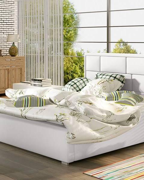 NABBI Liza UP 200 čalúnená manželská posteľ s roštom biela
