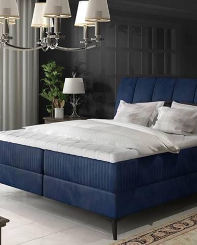 Altama 140 čalúnená manželská posteľ s úložným priestorom tmavomodrá
